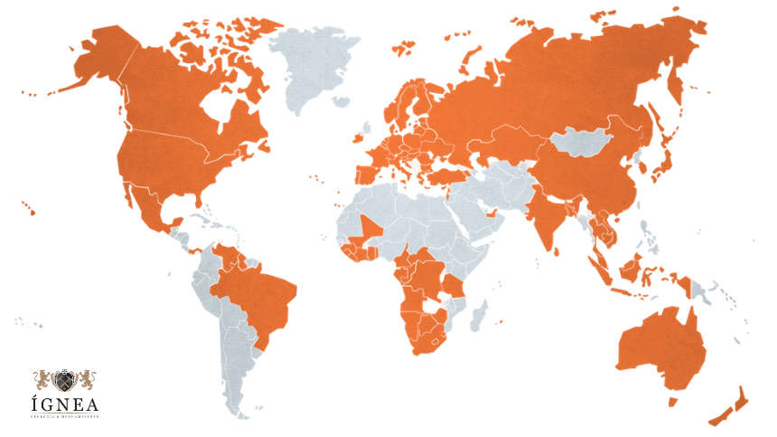 Em laranja, países participantes do PK