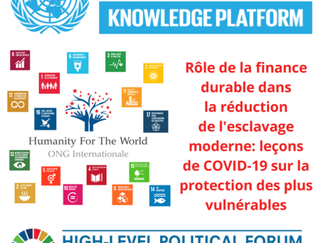Rôle de la finance durable dans la réduction de l'esclavage moderne: leçons de COVID-19...