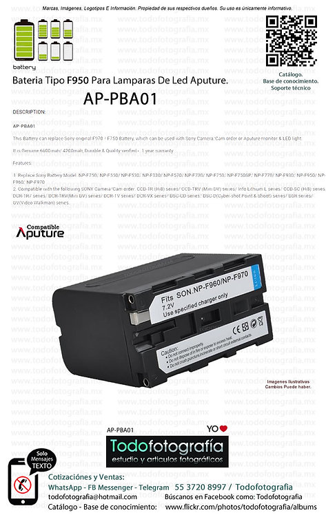 Aputure AP PBA01 Batería Tipo F950 Para Lamparas De Led Aputure (AP-PBA01)