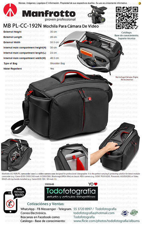 Manfrotto MB PL-CC-192N Mochila Para Cámara de Vídeo Pro Light (3900648)