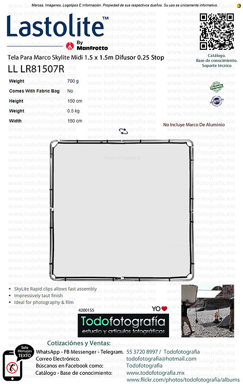 Lastolite LL LR81507R Tela Para Marco Midi 1.5 x 1.5m Difusor 0.25 Stop (4200155