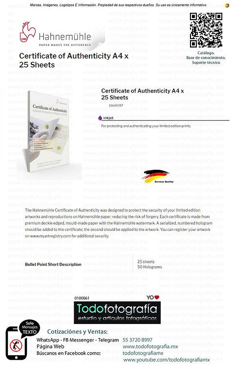 Hahnemuhle 10640397 - Certificados De Autenticidad 25 Hojas A4