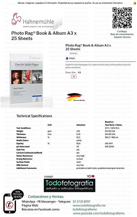 Hahnemuhle 10641693 - Photo Rag Papel Impresión Book & Album Caja 25 Hojas A3