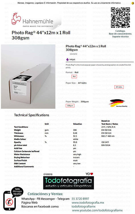 Hahnemuhle 10643272 - Photo Rag Papel Impresion 44in 308gsm 12m