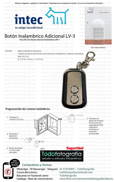 Intec LV-3 Botón Inalambrico Adicional Para Alarma Vecinal Inalambrica