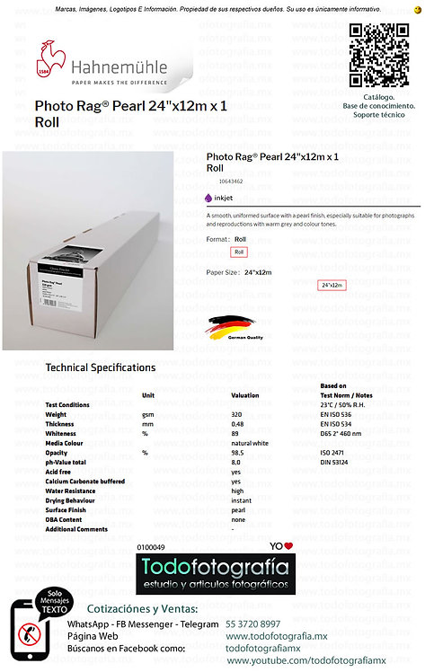 Hahnemuhle 10643462 - Photo Rag Papel Impresion Pearl 24 in Rollo 12m