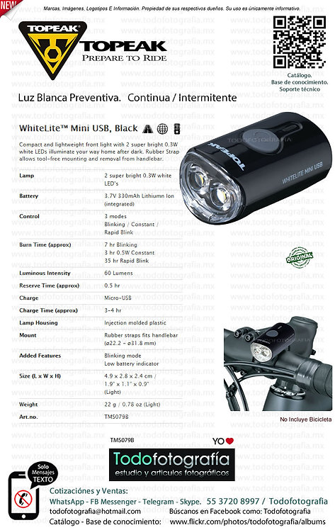Topeak WhiteLite Mii USB Black Luz Balnca Preventiva Ciclismo