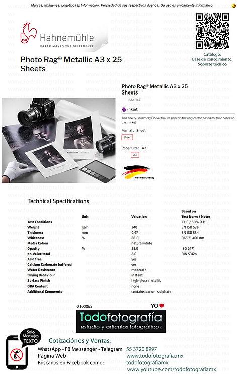 Hahnemuhle 10641762 - Photo Rag Papel Impresion Metallic A3  Caja con 25 Hojas
