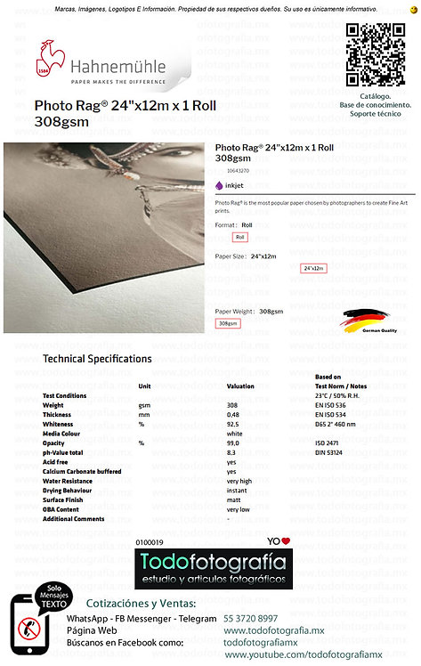 Hahnemuhle 10643270 - Photo Rag Papel Impresion 24in 308gsm 12m