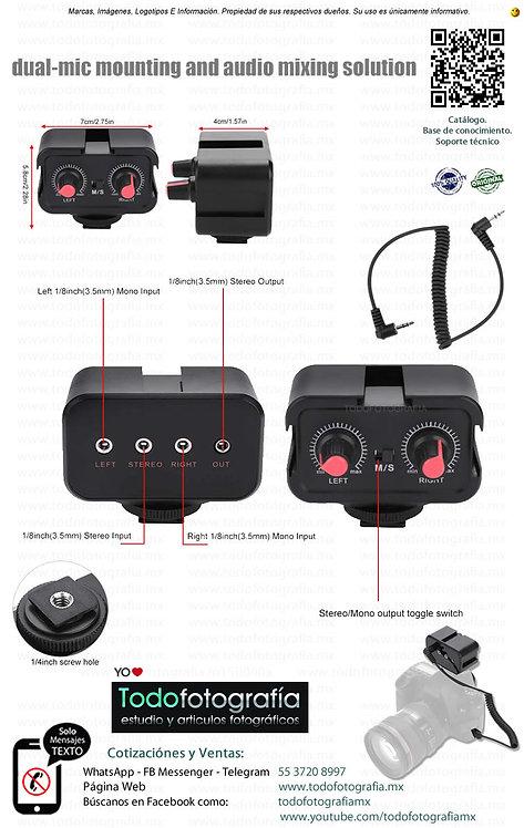 Mezcladora De Audio Para Videocámara Usa Dos Micrófonos Al Mismo Tiempo