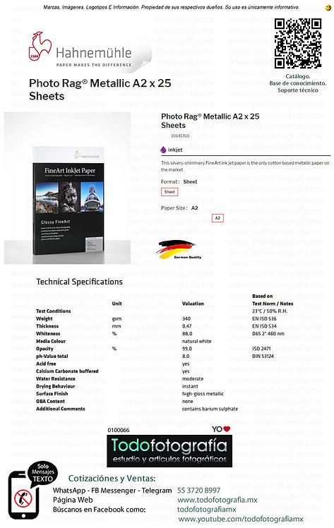 Hahnemuhle 10641760 - Photo Rag Papel Impresion Metallic A2 Caja con 25 Hojas