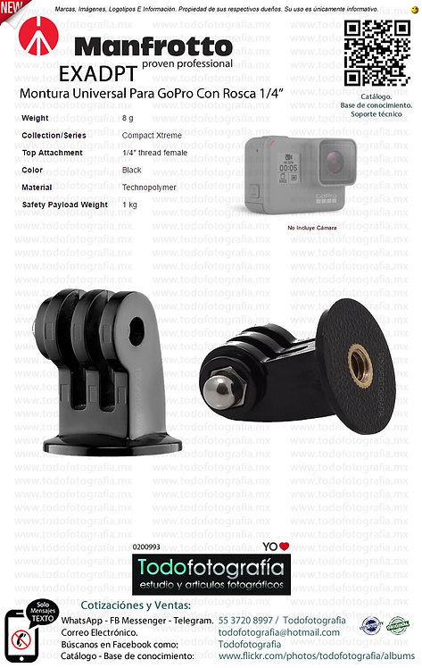 Manfrotto EXADPT Montura Universal Para GoPro Con Rosca 1/4 (0200993)