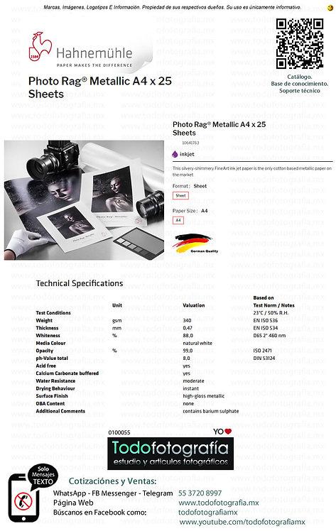 Hahnemuhle 10641763 - Photo Rag Papel Impresion Metallic A4 Caja con 25 Hojas