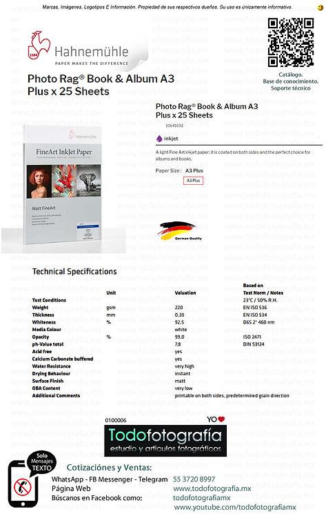 Hahnemuhle 10641692 - Photo Rag Papel Impresión Book & Album Caja 25 Hojas A3 +