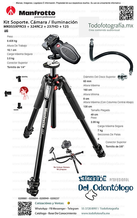 MT055XPRO3, 324RC2, 237HD, 125 Manfrotto (0200881 - 0200094 - 0200237 - 0200949)