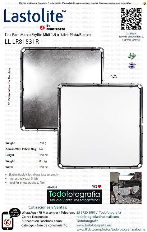 Lastolite LL LR81531R Tela Para Marco Midi 1.5 x 1.5m Plata-Blanco (4200157)