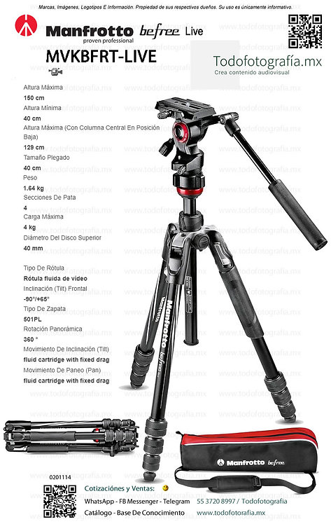 MVKBFRT-LIVE Manfrotto Befree Live Tripie Video (0201114)