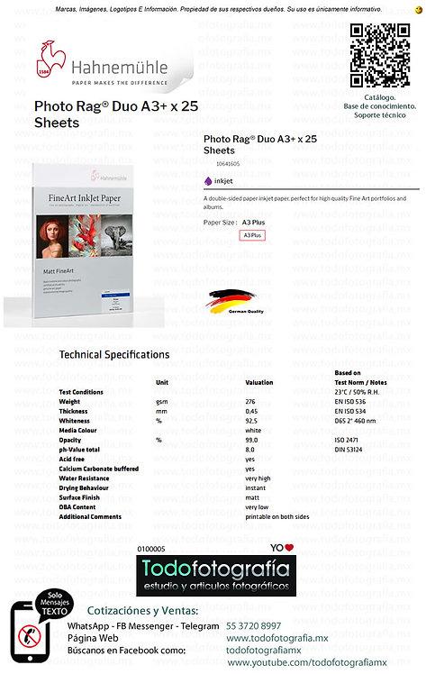 Hahnemuhle 10641605 - Photo Rag Duo Papel Impresión Caja 25 Hojas A3 Plus