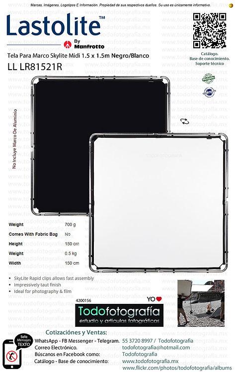 Lastolite LL LR81521R Tela Para Marco Midi 1.5 x 1.5m Blanco-Negro (4200156)