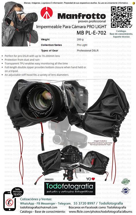 Manfrotto MB PL E 702 Impermeable Para Cámara Réflex Con Lente 70 200 (3900503)