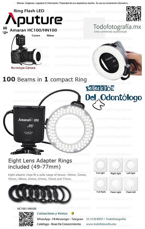 HC100 Canon / HN100 Nikon Aputure Ring Flash Led Todofotografia