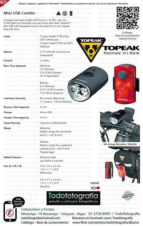 Topeak TMS080 Mini USB Combo - Luz ciclismo