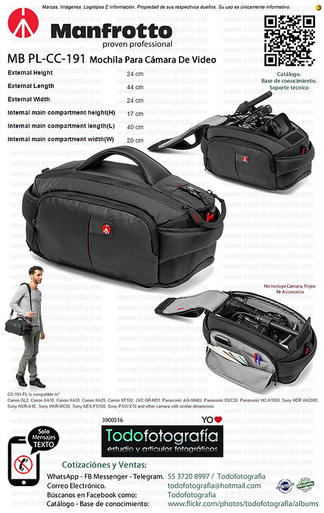 Manfrotto MB PL-CC-191 Mochila Para Camara de Video Pro Light (3900516)