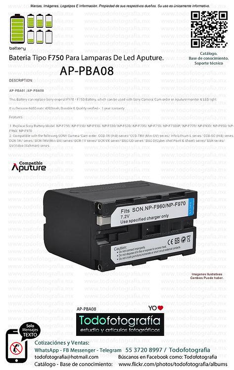 Aputure AP PBA08 Batería Tipo F750 Para Lamparas De Le Aputure (AP-PBA08)