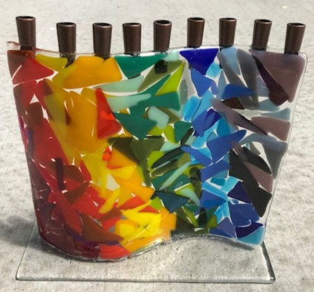 Rainbow Menorah by Linda Weiss