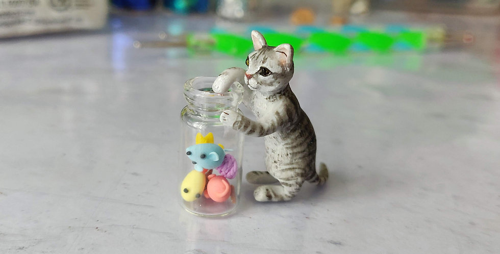 Kitten with bottle full of cat toys / custom order model