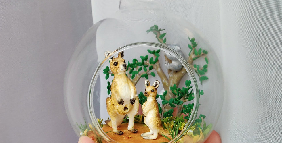 Australia scene with kangaroos and koala / glass ball art