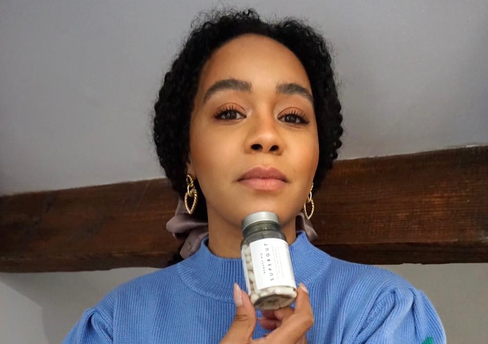 Nutritionist Kay Ali with Beauty Pie Supergut probiotic supplement