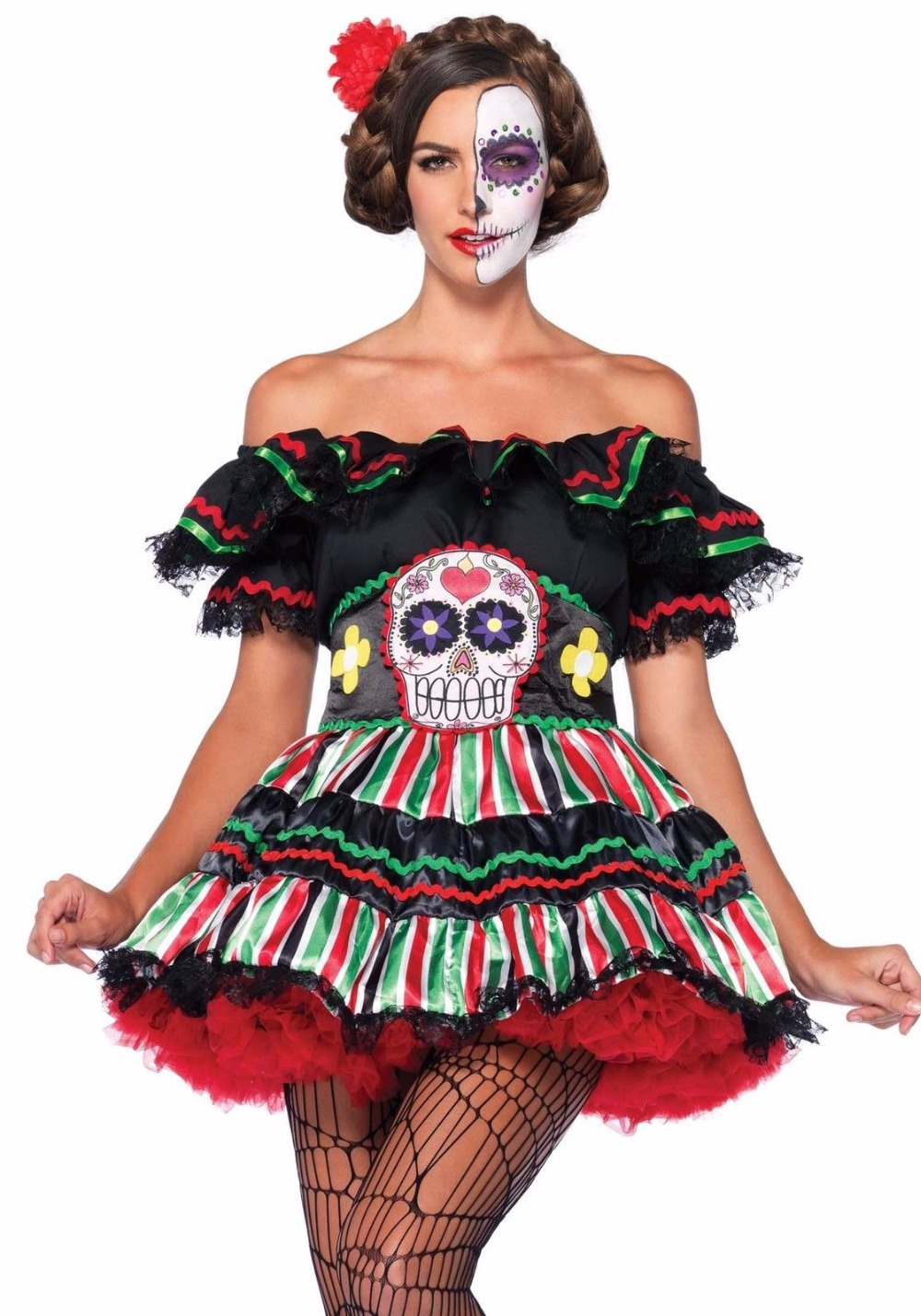 Free-shipping-Day-of-The-Dead-Doll-Sexy-Womans-font-b-Fancy-b-font-font-b