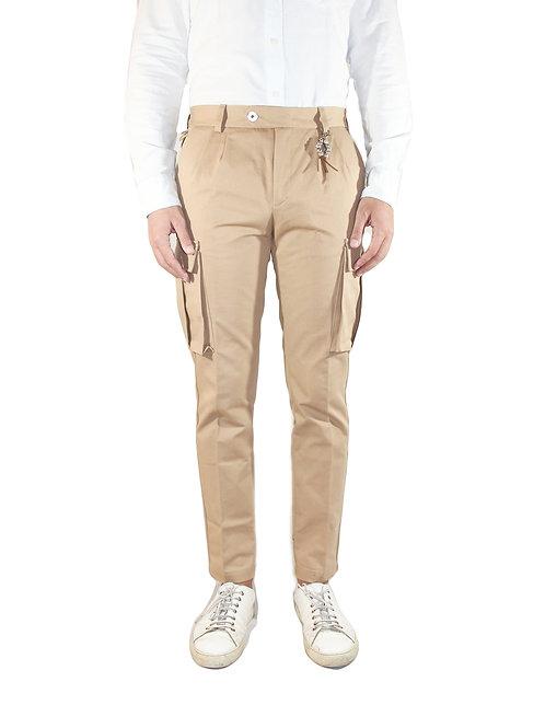 Slim-fit cargo pants in beige cotton R102 C-BE