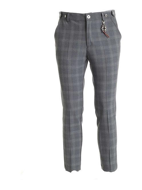 R106 LA-GQ Pantalone lana quadri grigio