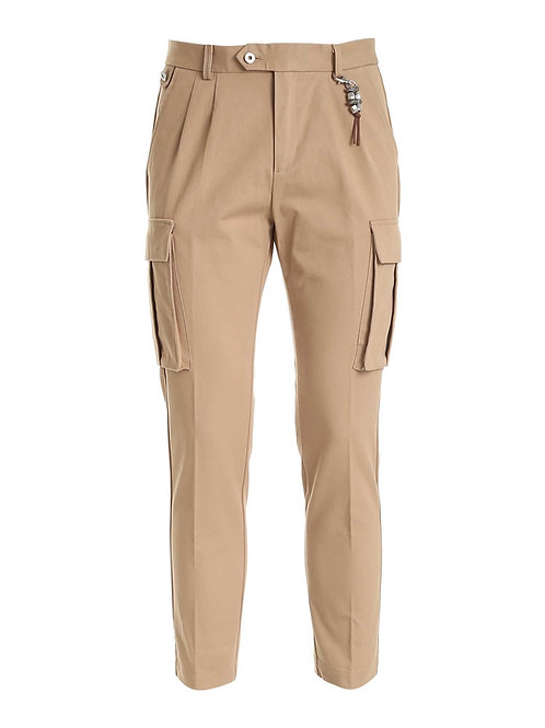 R102 C-BE Pantalone cargo doppia pence beige