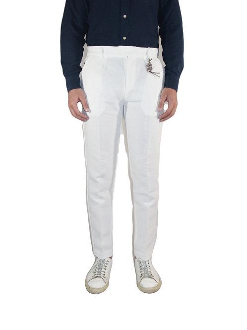 Pantalone slim fit doppia pences in lino bianco R101 L-BI