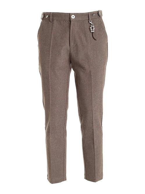 R106 C-M3 Pantalone microfantasia marrone