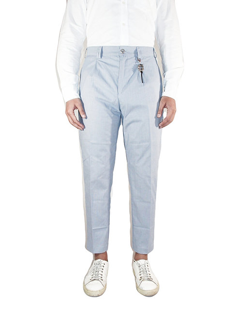 Comfort fit trousers one pence light blue cotton micro pattern R100 C-CM