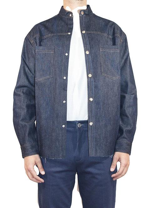 Camicia Western taglio vivo denim blu CAM01 D-BI01