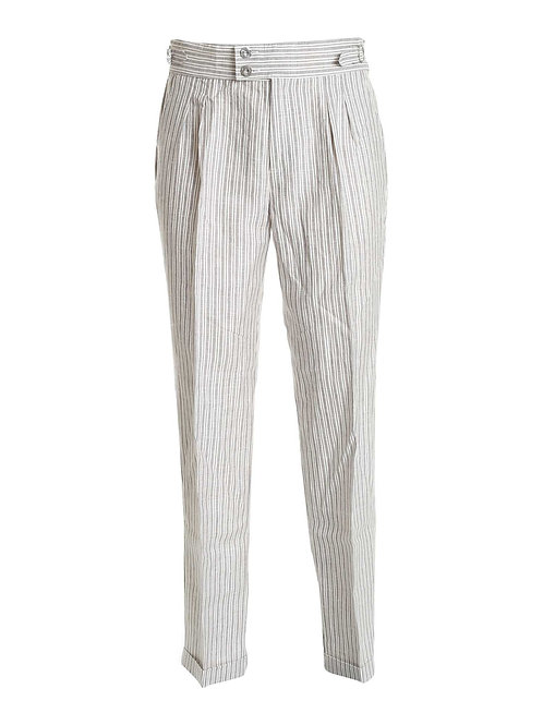 R107 L-GR Pantalone una pence classic fit grigio riga