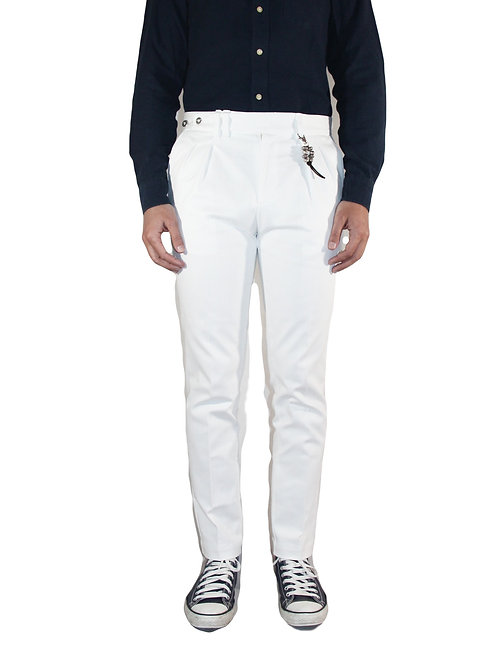 Slim double pences trousers in white denim R96 D-B