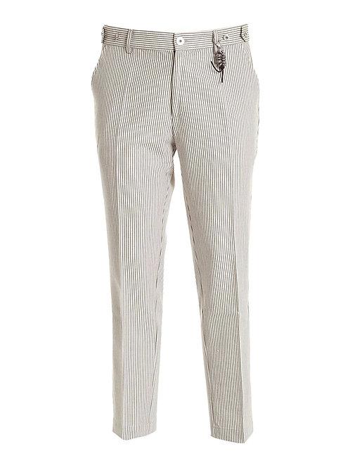 R106 C-BR Pantalone gessato bianco e beige