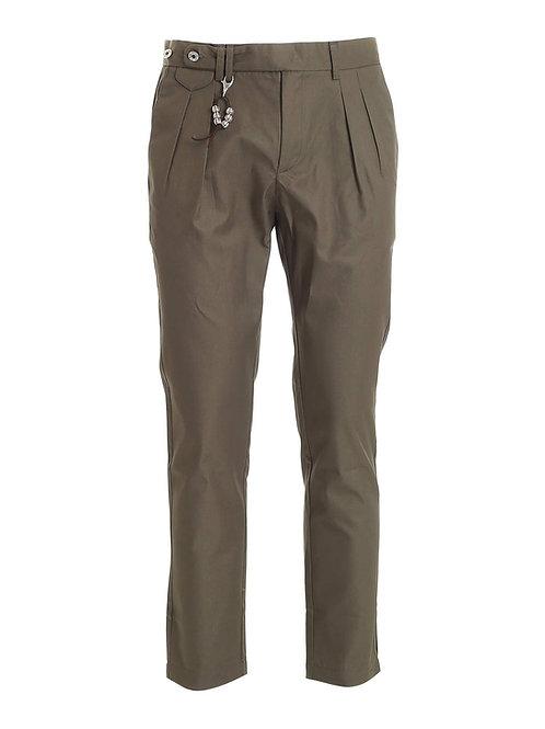 R96 C-VV Pantalone doppia pences slim fit verde militare