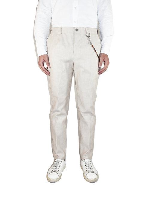 Pantalone taglio a vivo slim fit denim beige R104 D-BE