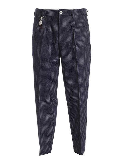 R100 LA-BM Pantalone relaxed fit lana blu microf.