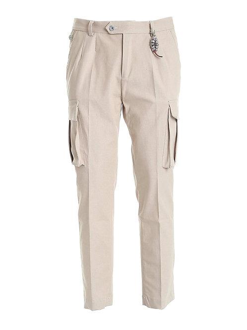 R102 C-OR Pantalone cargo doppia pence beige orzo