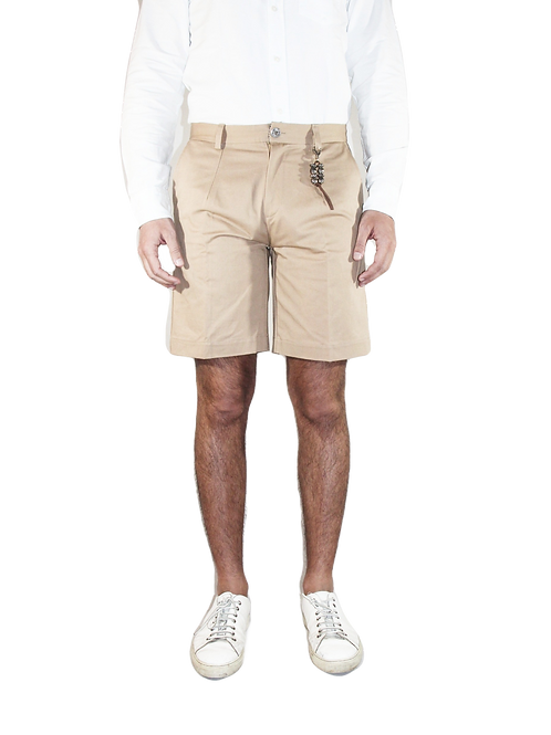 Pantalone corto una pence slim fit cotone beige R97 C-BE