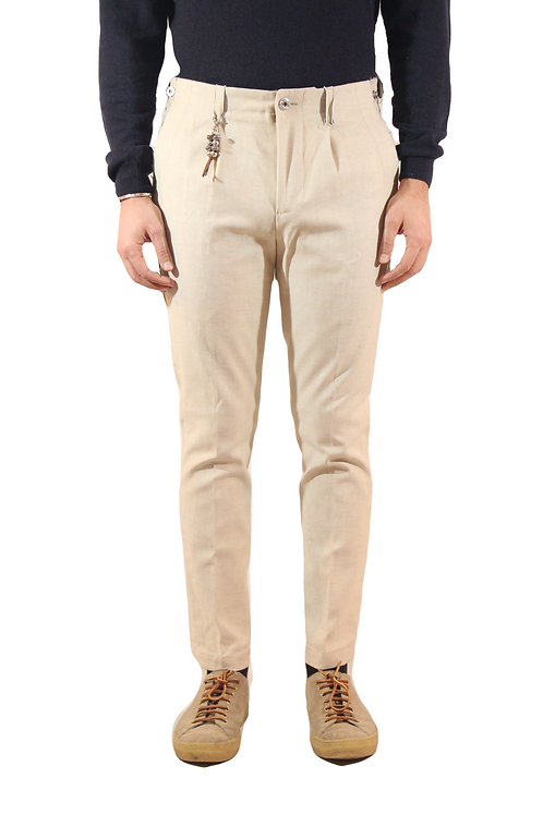 R103 D-BE Pantalone taglio a vivo slim fit denim beige