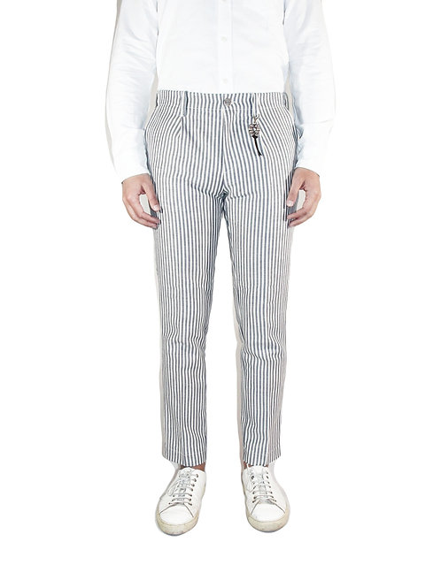 Pantalone slim fit una pence in denim righe blu/bianco R92 D-RB
